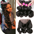360 Lace Frontal With Bundle Indian Virgin Hair Loose Wave With 360 Frontal Closure Indian Loose Wave 4 Bundles With Frontal 360