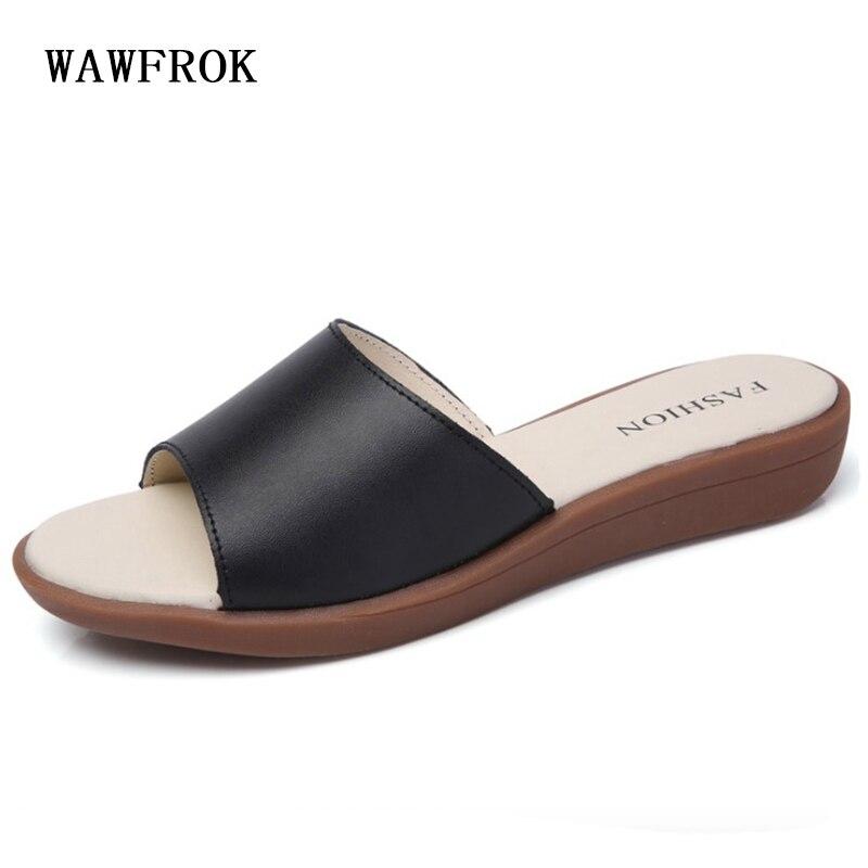 Для женщин тапочки 2018 летние Для женщин обувь из натуральной кожи модные женские туфли босоножки на танкетке сандалии на каблуке пляжная об...