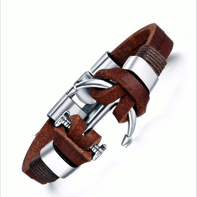 18 New Fashion 3 layer Leather Skull Bracelets&Bangles Handmade Round Rope Turn Buckle Bracelet For Women Men Charm bracelet 28