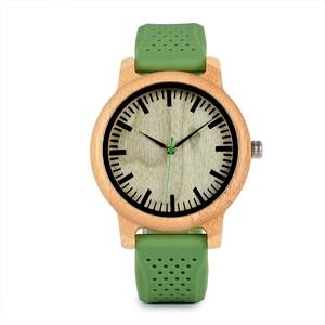 Image 2 - BOBO VOGEL Bambus Männer Uhr Casual Frauen Quarz Uhr Silikon Band reloj mujer marca famosa