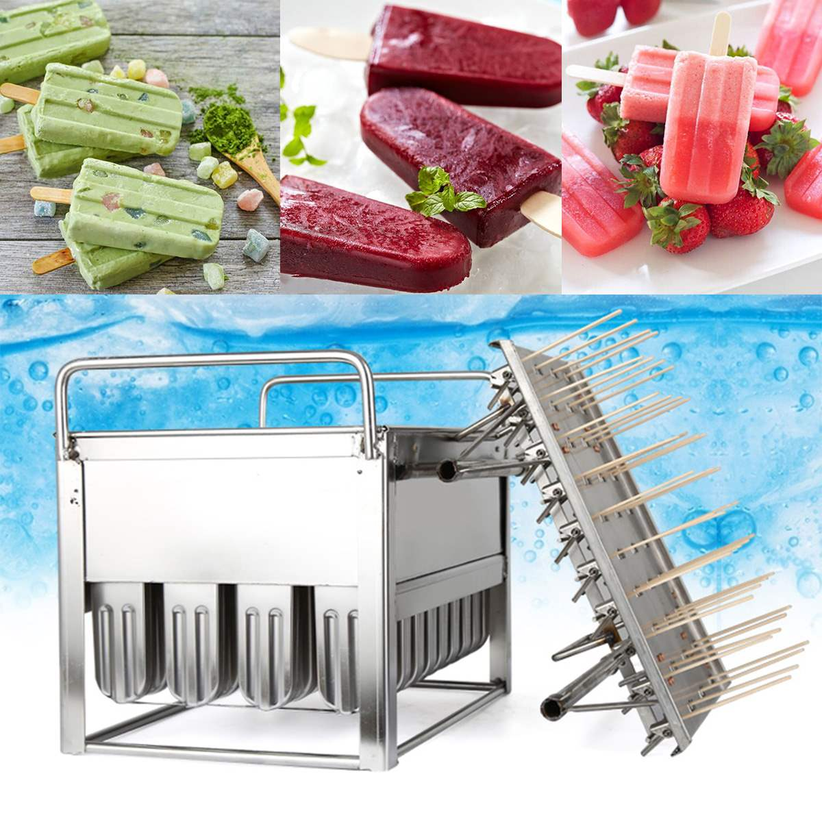 Stainless Steel Ice Pop Molds Machine Ice Lolly 40Pcs Popsicles Mould Stick Holder Home Kitchen Shop Ice Cream Maker Large