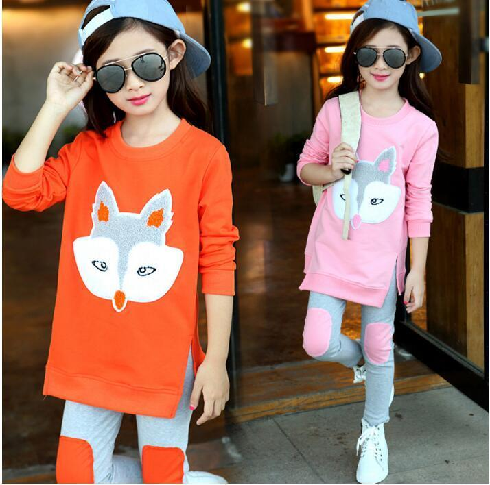 Retail Autumn Fashion Children Clothing Sets Baby Girls Cartoon Fox Sports and Leisure Suits Kids Casual Top+Pants Twinset