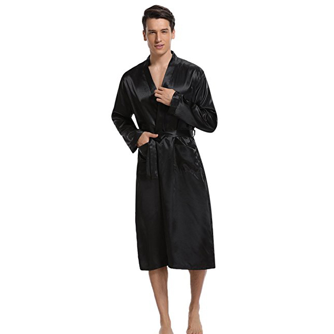 New Black Chinese Men Satin Rayon Robe Gown Solid Color Kimono Bath Gown Lounge Casual Male Nightgown Sleepwear Home Wear