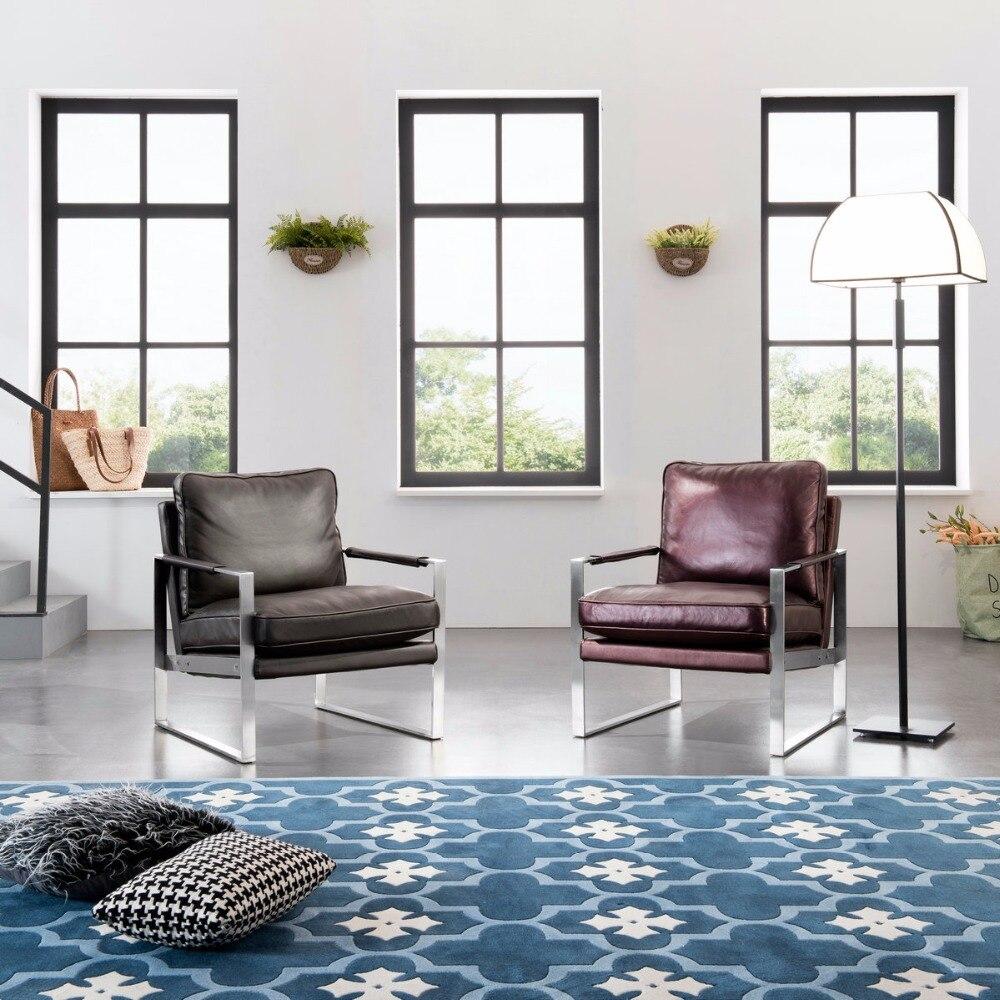 Inoxidável moderna cadeira do lazer cadeira Do Sofá conjunto de Sofá sala de estar mobiliário barroco cadeira Varanda cadeira Do Sofá única cadeira