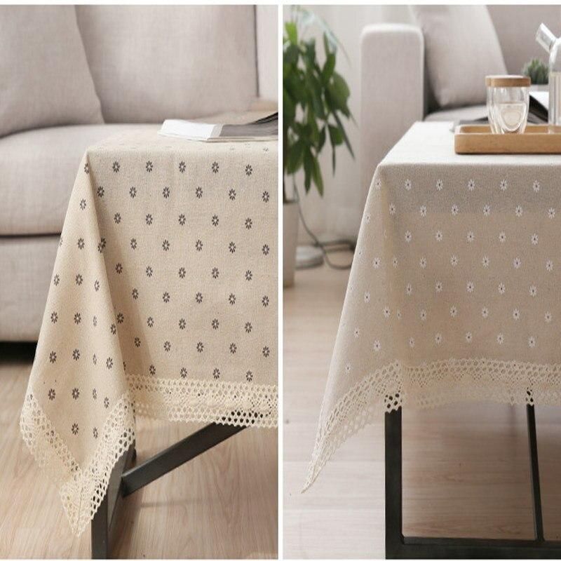 Beautiful Cotton Linen Lace Tablecloth Daisy Pastoral Linen Tablecloth Table Cloth  Dining Table Cover Desk Towels(