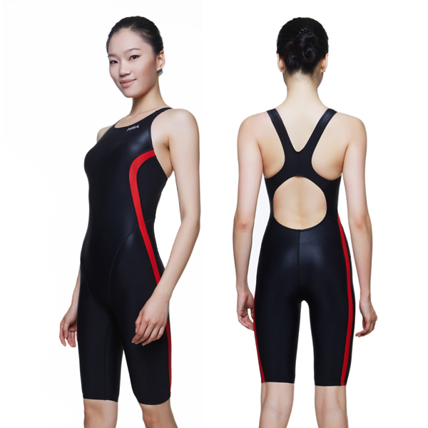 NSA competition black knee length women's training & racing swimwear one piece waterproof swimsuit training and competition
