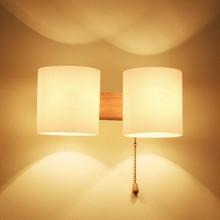 BOKT Modern Nordic Solid Wood LED Wall Lamp Bedside Night Light Bedroom Living Room Aisle Sconce Fixture Decor Art