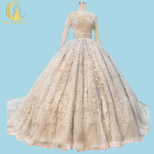 Professional New Arrival Rhine Wedding Gown Sliver Stars Crystal Full Design Ball Gown Sweep Train Luxurious Bridal Wedding Gown