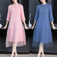 Imitation Silk Light Pink Loose Women Dress Embroider Vintage Cheongsam Casual Women Dress Chinese Style Elegant Dresses Woman