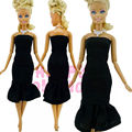 Fashion Cool Strapless Dress Classic Black Wedding Party Clothes + Necklace For Barbie Doll Princess Model Toys Child Collection