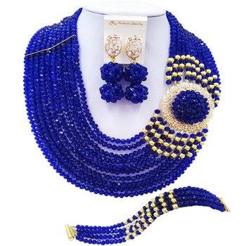 ACZUV Royal Blue African Beads Jewelry Set 10C-DBPH002