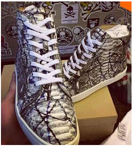 2016 Top quality Men Snakeskin Shoes Genuine leather Lace Up Sneaker Painting Graffiti Sapatos Fashion Men Casual Shoes
