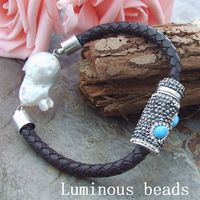 GE050108 8 White Keshi Pearl Leather Bracelet