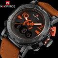 Мужчины спортивные часы двойной дисплей часы NAVIFORCE бренд мужской СВЕТОДИОДНЫЕ цифровые аналоговые часы orange кварцевые часы 30 М водонепроницаемый мужской часы