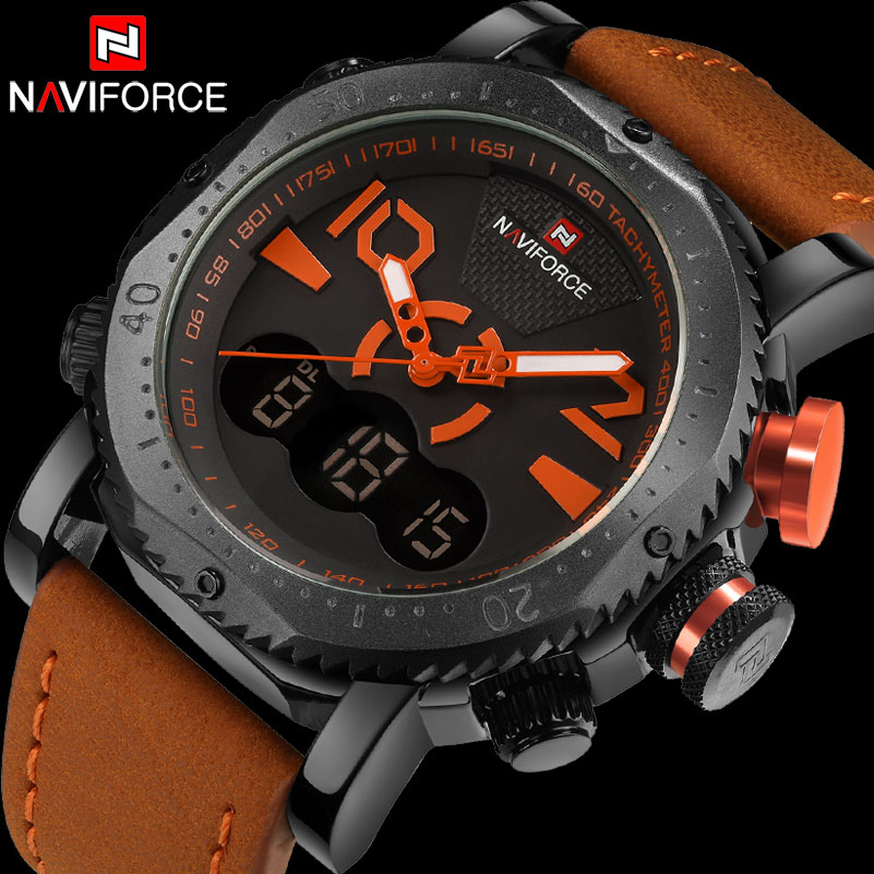 NAVIFORCE Brand Men Sport Watches Dual Display Watch Men LED Digital Analog Clock Orange Quartz Watch 30M Waterproof Male Clock все цены