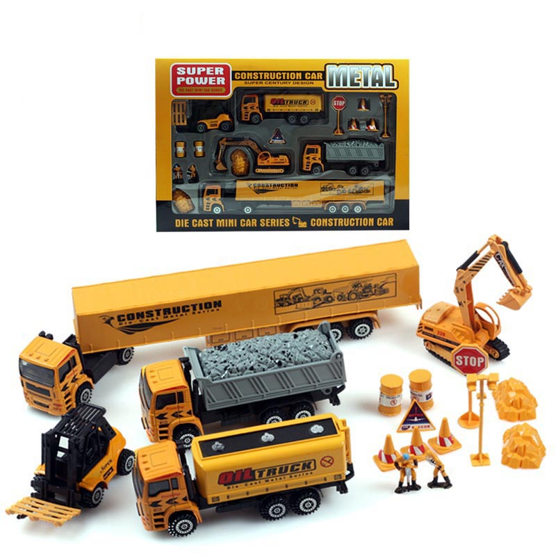 Project series Metal Alloy car model toy car pull back toy excavator Truck kids toys Boxed Christmas gift Free shipping