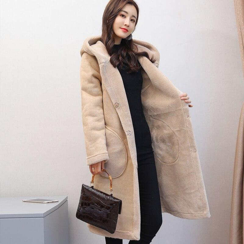2 Long À Hanzangl Femmes Épais Manteaux De 2018 Capuche 1 Manteau Longues Chaud Femme Hiver Laine Manches D'agneau Fourrure qrAqaU