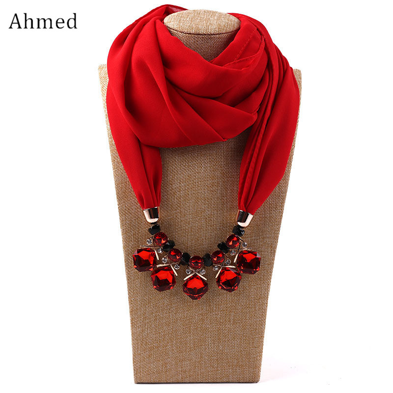 Ahmed Chiffon Beads Geometric Irregular Crystal Pendant Scarf Necklace For Women Fashion Ethnic Head Scarves Collar Jewelry