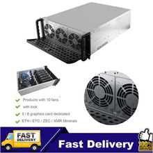 Drop Shipping Frame Rig Graphics Case GPU ATX Fit 6/8 Graphics Card Ethereum ETH ETC ZEC XMR 10 Fans With Lock