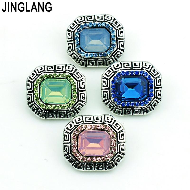 75e8614822d Novo Design de Metal 4 Cores Clássico Cristal Moda Jóias Intercambiáveis  Gengibre Botão Snap para Pulseira Colar Acessórios