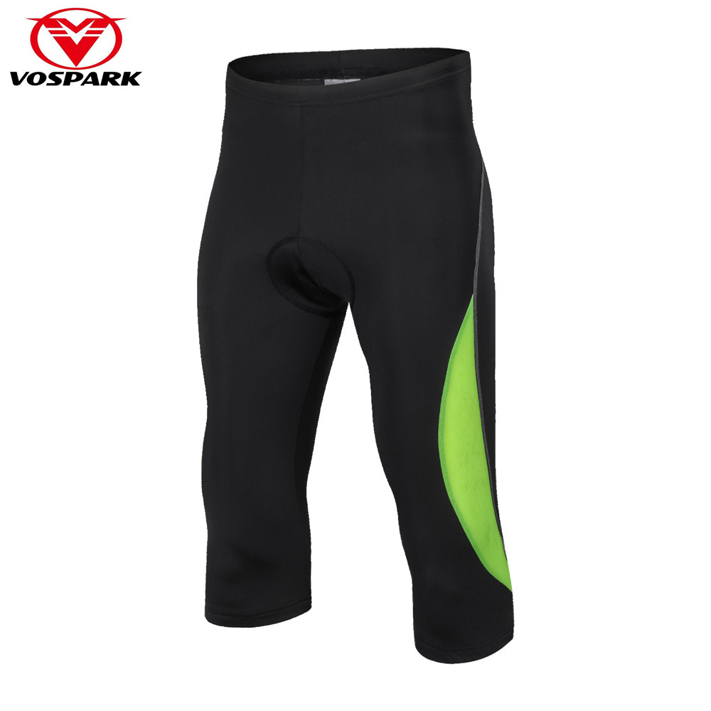 VOSPARK 2018 Pro Team Cropped Cycling Tights for Men Cycling Pants Road Mountain Bike Bicycle Short Tights Mtb Clothing Gel Pad
