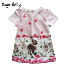 Amyababy Girls Summer Dress Cartoon Rabbit Children Dresses Children Princess Clothing Floral Girls Dresses Hot Birthday Clothes недорого