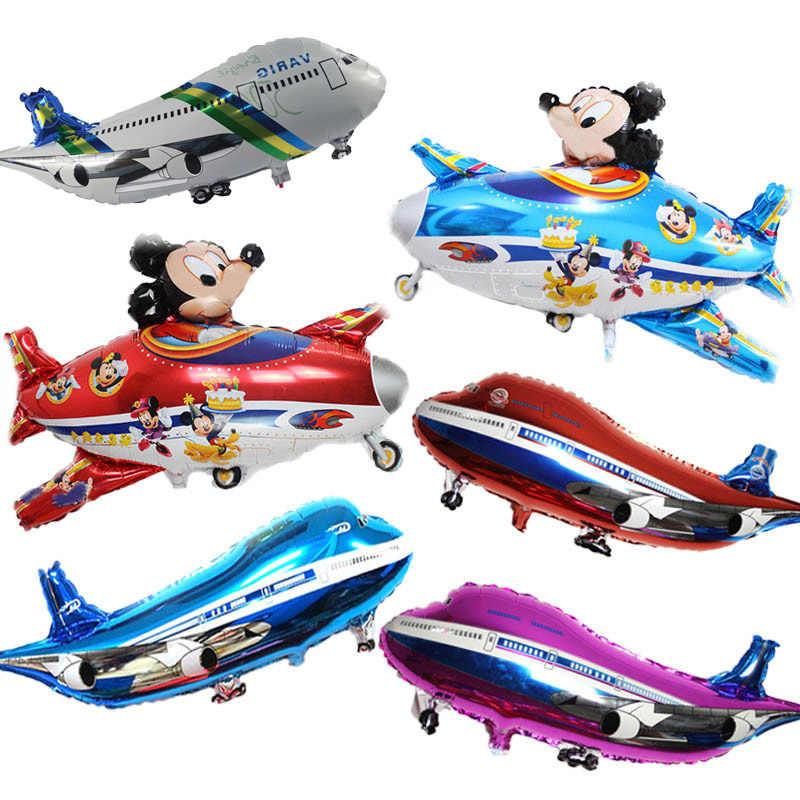 Little boy toy car&plane airplane train balloon birthday party decor balloon Mickey Aircraft foil Balloon baby party supplies