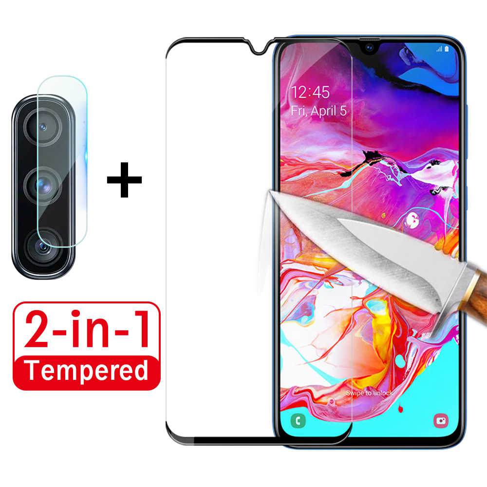 2 in 1 A70 Camera Glass on the For Samsung Galaxy A70 Screen Protector A 70 Tempered Glas Protective Lens Tempered Glass Film