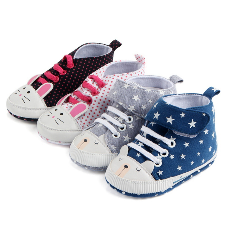 2018 Classic Casual Baby Shoes First Walkers Autumn Winter Toddler Newborn Polka Dots Baby Girls Boy Lace-Up Sneakers Shoes New
