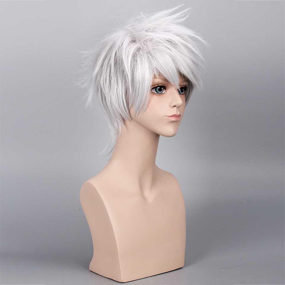 35 см Наруто Хатаке Какаши синтетический парик для косплея короткие Серебристые белые волосы парики для мужчин аниме Хэллоуин костюм вечерние