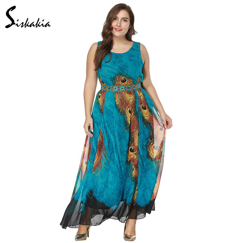 Siskakia Bohemian chiffon beach dress women Spring Summer 2018 Peacock feather print maxi long dress plus size 8XL 7XL 6XL 5XL