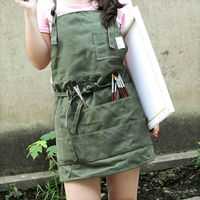 Adults Full Length Green Canvas Painting Bib Apron Artist Smock Drawer Craft Men Painter Gardening Work
