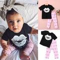2016 Fashion New Baby Girls Clothes 0-4Y Toddle Kid Summer Short Sleeve Slip Print T-Shirt and Eyelash Pant 2pcs Children Set