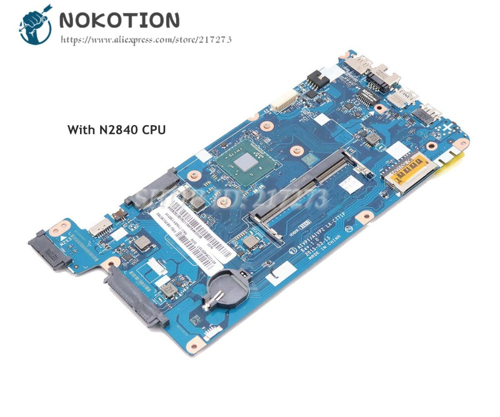 NOKOTION For Lenovo Ideapad 100-15IBY Laptop Motherboard 5B20J30760 AIVP1 AIVP2 LA-C771P SR1YJ N2840 CPU DDR3L