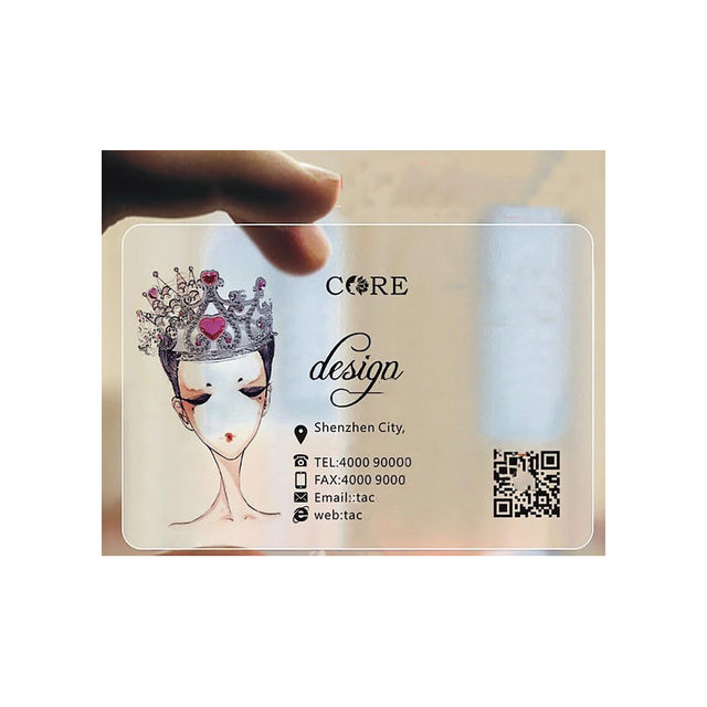 100pcsone design custom transparent business card 85.554mm matte personalised name card with your info (15)
