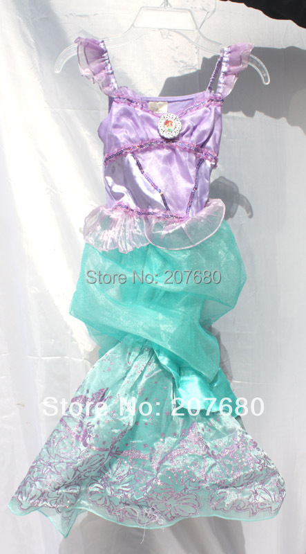 Cute Little Ariel Mermaid princess dress Girl's Halloween Christmas New Year child costume Fancy dress for Kids