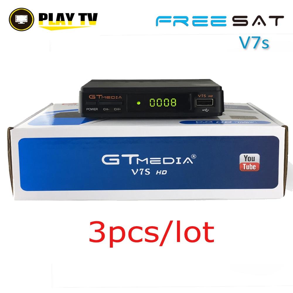 3pcs GT Media V7S HD Satellite Receiver Full 1080P DVB-S2 HD Support powervu CCcam Biss Key AC3 Decoder TV Box freesat V7