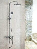 Wall Mounted Chrome Finished Rain Brass Bathroom Shower Set Shower Column Bath Shower Set With ABS