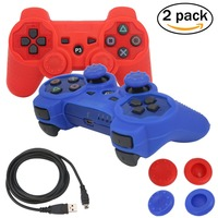 Blueloong 2pcs Red And Blue Color Wireless Bluetooth Joystick Gamepad For Playstation 3 PS3 Controller Free