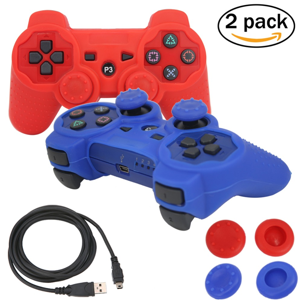SIXAXIS blueloong 2pcs Red and Blue Color Wireless Bluetooth Joystick Gamepad For dualshock 3 Playstation 3