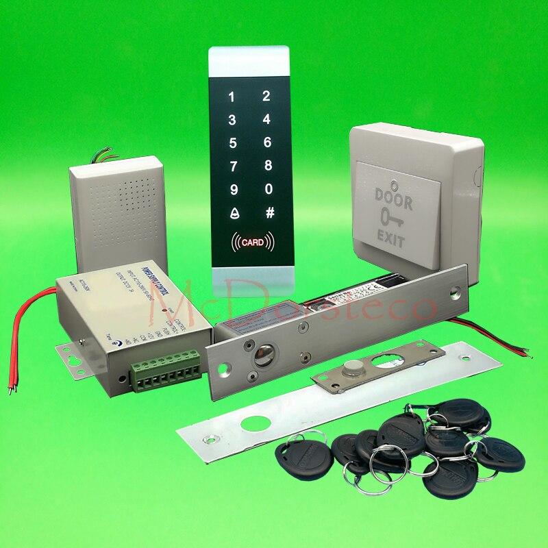 DIY Полный 125 кГц RFID деревянные двери система блокировки управления аудио домофоны + Мощность питания + кнопка выхода + брелков