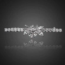 2019 AAA Cubic Zirconia Leaf Hair Clips for Women Fashion Barrette Joyeria Bridal Wedding Accessories F00025