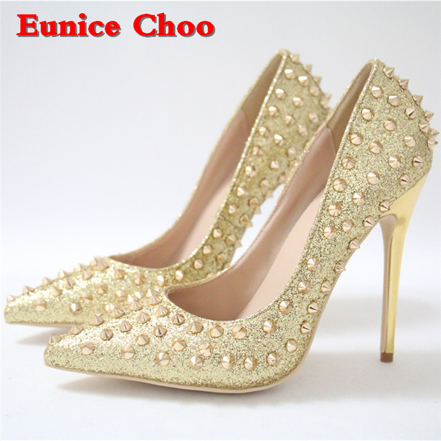 Gold Rivets Pointy Toe High Heels Pumps Women Eunice Choo 2018 Spring  Ladies Office Slip on Stilettos High-heeled Shoes 10 12cm 3399a5f03cb1