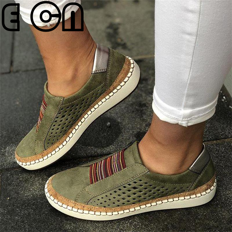 Hollow Out Women's Shoes Hand-stitched Striped Breathable Elastic Band Casual Flat Suitable for Wide Leg Women's Sneaker 3