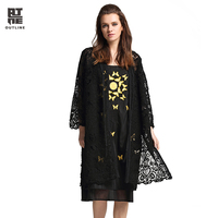 Outline Women S Blouse Fashion Plus Size Solid Black Lace Crochet Hollow Out Split Hem Long