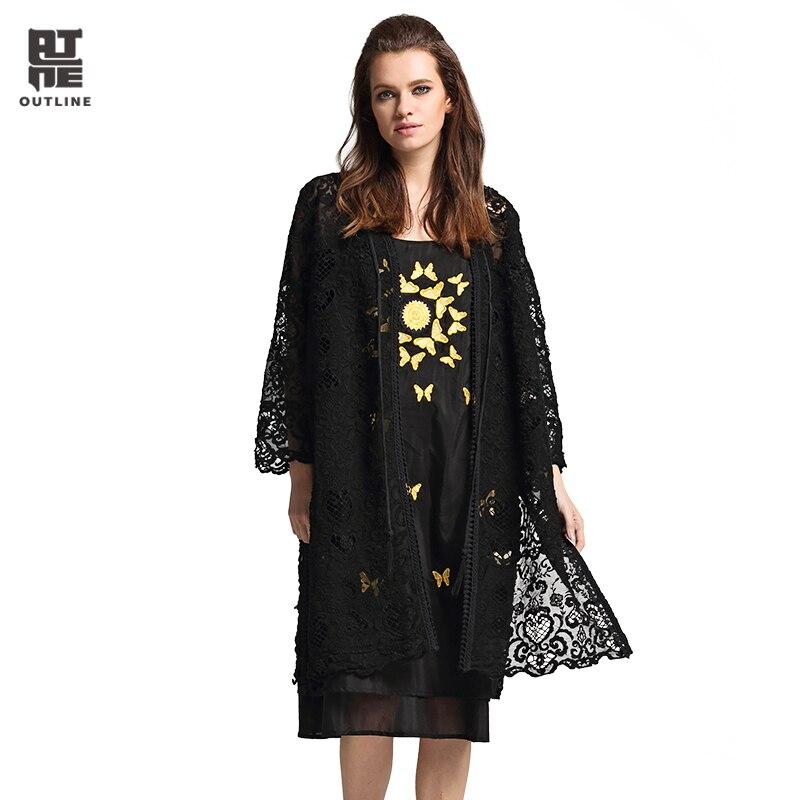 все цены на Outline Women's blouse Fashion Plus Size Solid Black Lace Crochet Hollow Out Split Hem Long Sleeve Open Kimono Cardigan L172Y033