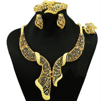Nigerian Wedding Jewelry Necklace African Jewelry Sets Fashion Dubai Gold Jewelry Sets For Women Indian