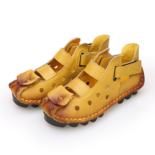 2018 Summer New Soft Bottom Flat Genuine Leather Women Shoes Personality Leisure Women Sandals Retro Handmade Sandals sapato