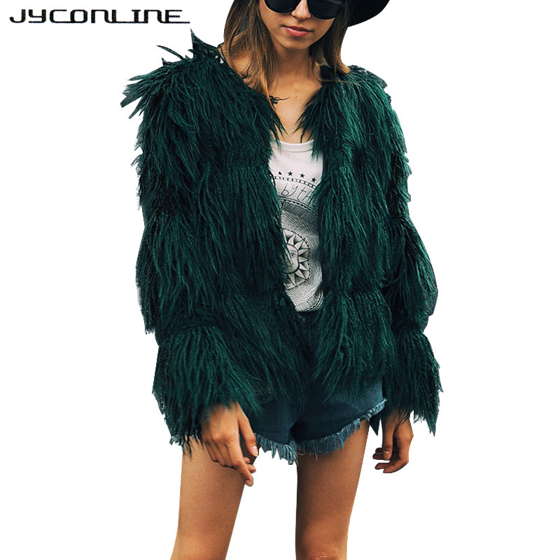 JYConline Soft Faux Fur Coat Women Fluffy Warm Long Sleeve Female Outerwear Winter Fur Coat Jacket Hairy Overcoat Large Size 3XL