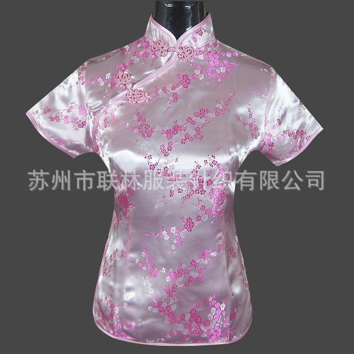 New Light Pink Women s Rayon Tang Suit Mandarin Collar font b Shirt b font Tops